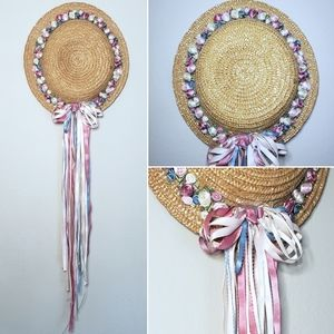 Vintage Woven Straw Hat Wall Hanging